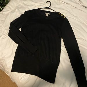 Black sweater with gold button details